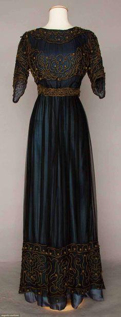 C. 1905 Afternoon Dress Marine blue silk & chiffon dress with gold soutache