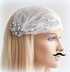 Lace Veil ,SWAROVSKI Crystals Hair piece (2 items),wedding hair , crystal hairpiece,bridal head piece on Etsy, £47.52