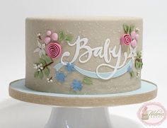 Baby shower cake, design was inspired by the invitation. The invitation was created by Jennifer Wick for Minted. The cake is covered in fondant, it is textured by airbrushing it with Royal Icing! That's right, you heard me AIRBRUSHED WITH ROYAL. Gorgeous Cakes, Pretty Cakes, Cute Cakes, Amazing Cakes, Fondant Cakes, Cupcake Cakes, Baby Cakes, Gateau Baby Shower, Single Tier Cake