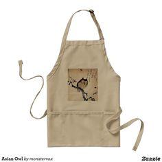 Asian Owl Adult Apron #Asian #Owl #Bird #Japan #Japanese #Art #Fashion #Apron