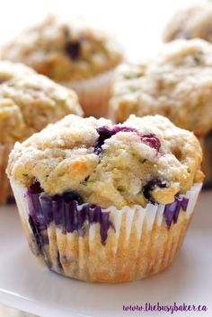 These Zucchini Blueberry Muffins are made with unsweetened applesauce, grated zucchini and fresh juicy blueberries for the perfect healthy snack!