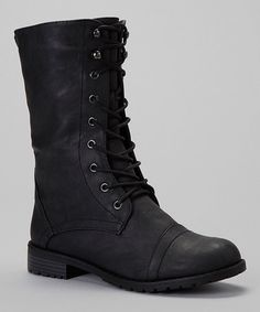 Look what I found on #zulily! Black Lug Lace-Up Boot by Nature Breeze #zulilyfinds