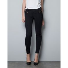 Zara Jeggings With Zips ($60) ❤ liked on Polyvore