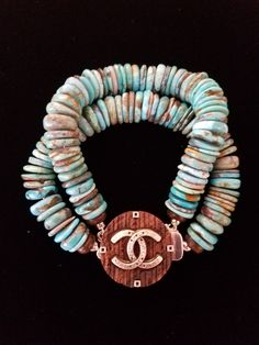 Chanel Button Turquoise Bracelet Designsbyz repurposed