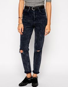 ASOS Farleigh High Waist Slim Mom Jeans in Storm Acid Wash With Busted Knees