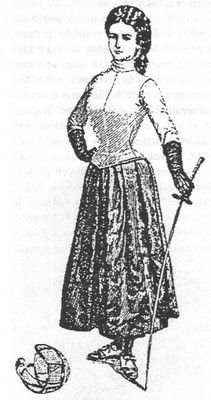 A sketch of Empress Elisabeth in her fencing outfit.