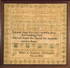 antique sampler by Mary Stanton Mary L. Stanton, Pokeepsie, NY 1832