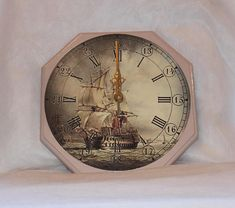Sailing Ship Wall Clock, Decoupage wall clock, Wooden wall clock. #wallclock  #wallclockdesigns #sailingship #decoupageclock #decoupage #decoupageart