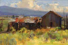 Kathryn Stats, Time Travel, oil, 12 x Farm Paintings, Paintings I Love, Landscape Art, Landscape Paintings, Southwest Art, Old Barns, Western Art, Plein Air, Art Oil