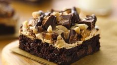 Brownies, peanut butter, marshmallow crème, peanuts, chocolate chips and candies - Yum!