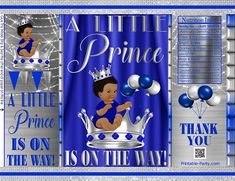 Printable Potato Chip Bags Blue Silver Gray Little Prince Baby Shower Favors, Baby Shower Parties, Baby Boy Shower, Shower Party, Party Labels, Royal Baby Showers, Congratulations Baby, Unique Centerpieces, Baby Prince