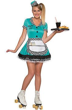 1950's Betty Lou Adult Waitress Diner Costume (M/L)