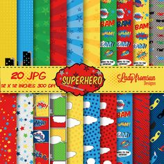 Superheroe-Papeles digitales para album de por Ladyfromsundesigns