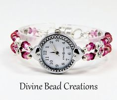 Swarovski Crystal Beaded Watch Bracelet by DivineBeadCreations, $38.00