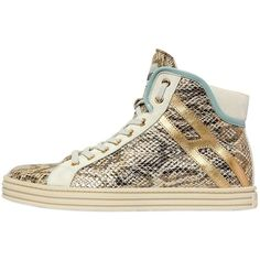 Hogan Rebel Women 50mm Printed Snakeskin Leather Sneakers ($465) ❤ liked on Polyvore featuring shoes, sneakers, multicolor, leather trainers, snakeskin shoes, rubber sole shoes, colorful sneakers and leather sneakers