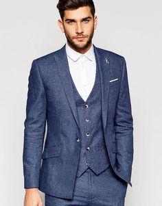 River Island Suit Jacket In Linen In Blue