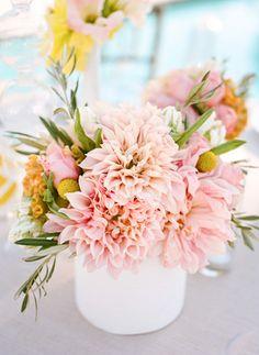 Pastel pink dahlia centerpiece {Photo by Erin Hearts Court via Project Wedding}