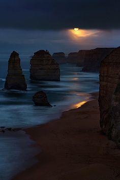 Moon over The Apostles, Australia