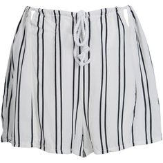 White Stripe Pleated Drawstring Waist Cut Out Detail Culottes (415 CZK) ❤ liked on Polyvore featuring shorts, bottoms, short, pants, pleated culottes, striped shorts, stretchy shorts, white striped shorts and white drawstring shorts