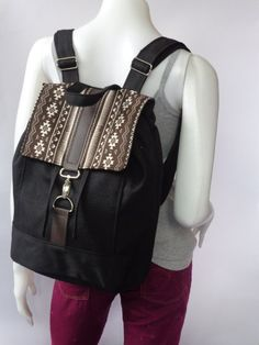 Black  BACKPACK-canvas and  cotton  fabric/canvas by Gooza on Etsy