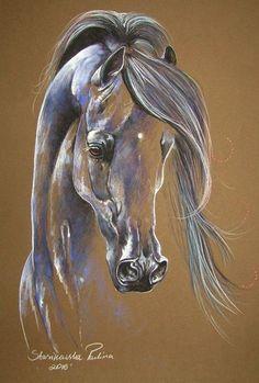 "Magic edition ""ARABIAN STALLION""  12,6""x17,7"" ORIGINAL horse PASTEL PAINTING #Realism"