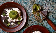 Photograph of Yotam Ottolenghi's meringue nests with apple and celery sorbet and fresh herbs New Year's Food, Love Food, Fennel And Orange Salad, Yotam Ottolenghi, Food Photography Styling, Food Styling, Light Recipes, Fresh Herbs, Essen
