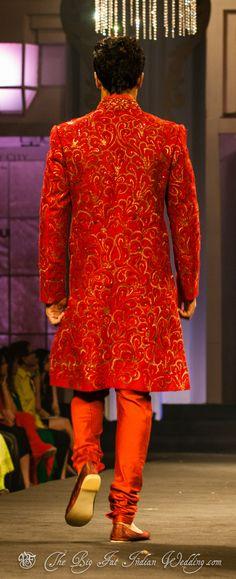Men's Indian red sherwani suit| Narendra Kumar Aamby Valley India Bridal Fashion Week