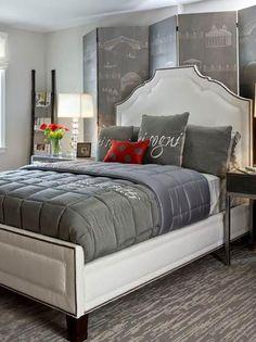 trend in bedroom paint modern bedroom designs gray bedroom red accent Grey Bedroom Colors, Red Bedroom Design, Grey Bedroom With Pop Of Color, Gray Bedroom, Bed Design, Bedroom Designs, Bedroom Wall, Bedroom Decor, Grey Bedding