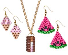 Girls will have a great time making these treat food jewelry pieces from Perler beads—an ice cream sandwich necklace with matching ice cream cone earrings, plus watermelon slice earrings. Fun to make, fun to wear!