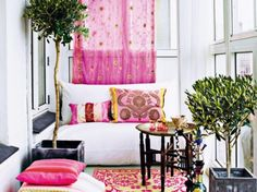 Architecture, Dazzling Apartment Interior Design with Feminine Theme: Charming Living Room With Gold Flowers On Pink Curtain