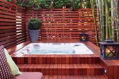 Backyard Hot Tub Privacy Jacuzzi Ideas For 2019 Hot Tub Pergola, Hot Tub Backyard, Hot Tub Garden, Backyard Privacy, Diy Pergola, Pergola Ideas, Jacuzzi Outdoor Hot Tubs, Outdoor Privacy, Whirlpool Pergola