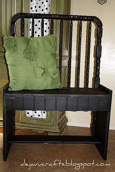 Crib Bench- I like this one the best so far! I can't wait to use these ideas on the crib I pulled out of someones trash yesterday!