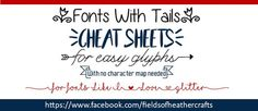 """Cheat Sheets for """"Easy Glyph"""" Fonts with Tails. No Character map needed, for these fonts you simply type characters like [ ] or ( ) . Sign Fonts, Monogram Fonts, Viking Symbols, Mayan Symbols, Egyptian Symbols, Viking Runes, Ancient Symbols, Samantha Font, Glyph Font"""