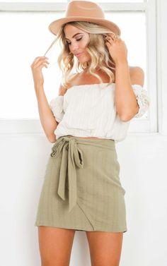 06b12ebc Showpo Casual Fridays Skirt in Khaki (also in white or pink) - $35 Khaki