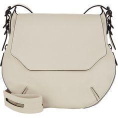 Rag & Bone Small Bradbury Flap-Front Hobo (11,475 MXN) ❤ liked on Polyvore featuring bags, handbags, shoulder bags, purses, white, zipper purse, flat purse, white purse, white hobo handbags and hobo purse