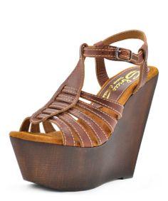 Cognac Basalt Wedge Sandal