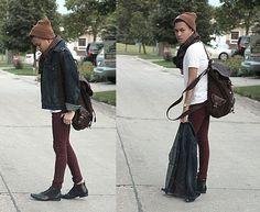 Gap Denim Jacket, Asos Burgundy Skinnies