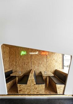 Cost effective idea for a banquette area. Thoughts on exposed plywood? Imagine frame in polished wood slats.