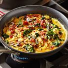 American Scramble with Mushrooms and Spinach