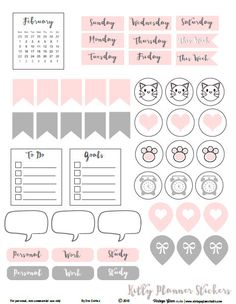 Kitty-Planner-Stickers - pdf para imprimir gratis Descarga disponible para su uso personal planificador.