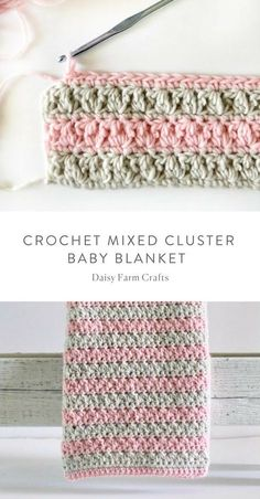 Crochet Stitches Ideas Free Pattern - Crochet Mixed Cluster Baby Blanket - I love how my mixed cluster stitch blanket turned out! Once I show you how to work all the loops,… Crochet Baby Blanket Free Pattern, Crochet For Beginners Blanket, Baby Afghan Crochet, Manta Crochet, Crochet Stitches Patterns, Free Crochet, Knitting Patterns, Baby Afghans, Crochet Quilt Pattern