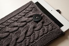 cable knit iPad case libraries, iphone cases, cabl knit, knit ipad case, crochet, diy gadget, knitting diy, ipad case pattern, knot