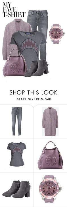 """""""Untitled #1744"""" by lechara ❤ liked on Polyvore featuring Frame, Uniqlo, Gucci, KYBOE! and MyFaveTshirt"""