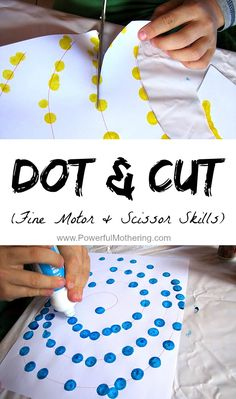 Encourage Fine Motor & Scissor Skills with this simple Dot & Cut. This pin lists activities which promote scissor skills as well as strengthening intrinsic hand muscles. Preschool Fine Motor Skills, Motor Skills Activities, Gross Motor Skills, Preschool Learning, In Kindergarten, Learning Activities, Toddler Activities, Time Activities, Fine Motor Activity