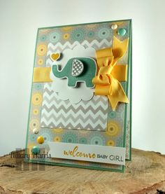 Handmade baby card by Hillary Harris using a sentiment from the To the Moon set from Verve. #vervestamps