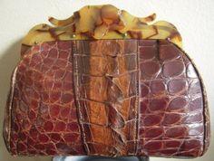 40's Crocodile Alligator & Bakelite Clutch Wristlet Purse