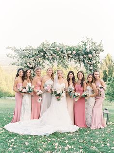 """This Is What a """"Luxury Camp"""" Wedding Looks like and It's Safe to Say We're Obsessed, floral arch and mixed pink bridesmaid gowns Pink Bridesmaid Dresses Short, Light Pink Bridesmaid Dresses, Dusty Pink Bridesmaid Dresses, Wedding Ideias, Justine, Amy, Chiffon, Bright, The Dress"""