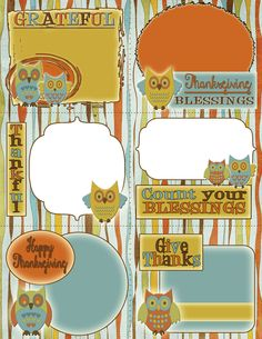 Super cute FREE Thanksgiving tag printables! Great for labeling food at dinner, place settings, and more! {inkhappi}
