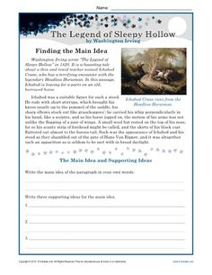 Students read a passage from The Legend of Sleepy Hollow and write the main idea and supporting ideas.