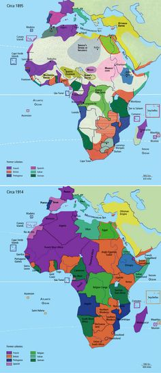Africa   The changes of foreign occupation in just 20 years, across the continent   Compares ca. 1895 to the situation in ca. 1914.    Source ~ http://issuu.com/yahzoo/docs/african_art_-_maurice_delafosse